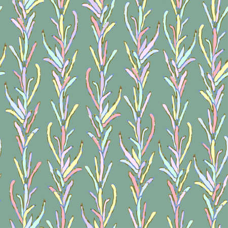 Seamless colorful pattern with foliage and plants