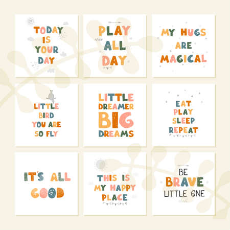 Vector set with fun hand drawn nursery posters with lettering Ilustração