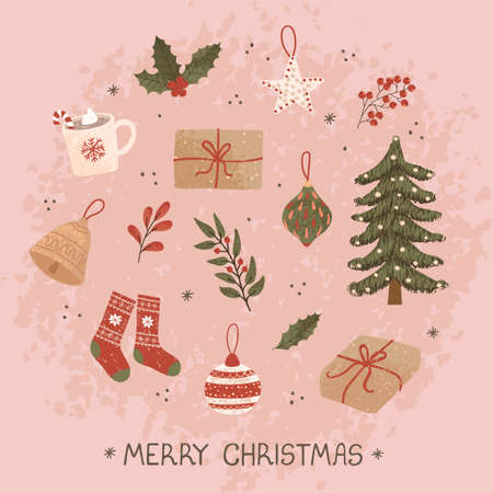 Vector christmas greeting card with hand drawn doodle illustrations of christmas objects. Use it as invitation, greeting card, poster, banner, flyer, cover, placard, brochure and other graphic design Ilustrace