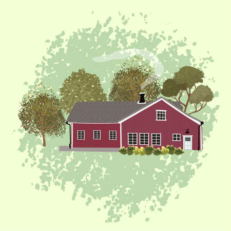 Vector colorful illustration of house in the Scandinavian style. Use this picture as element for you design