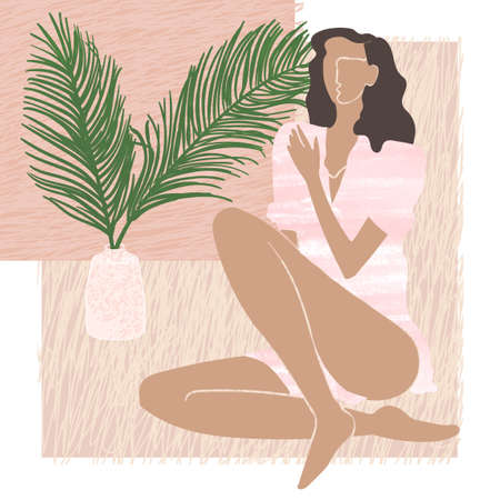 Vector colorful illustration of young summer woman sitting next to a vase containing palm leaves. Element for design greeting card, poster, banner, Social Media post, invitation, graphic design