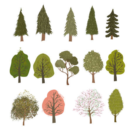 Vector coloful set with colorful illustrations of different trees isolated on white background. Use it as elements for design greeting card, poster, banner, Social Media post, invitation, sale, brochure and other graphic design Ilustrace