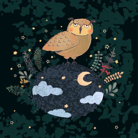 Vector colorful illustration of cute owl and night forest. Used it as elemets for your design for childish t-shirt print, cloth, baby wear, kids room decoration, invitation, greeting card, and posters