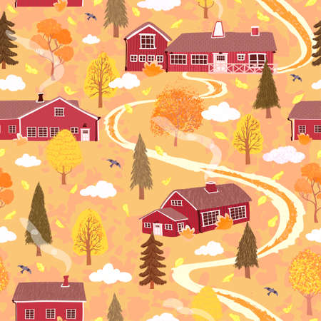 Vector seamless background with colorful illustration of autumn landscape with a house in the Scandinavian style. Use it for wallpaper, pattern fills, surface textures, textile print, wrapping paper
