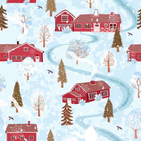 Vector seamless background with colorful illustration of winter landscape with a house in the Scandinavian style. Use it for wallpaper, pattern fills, surface textures, textile print, wrapping paper