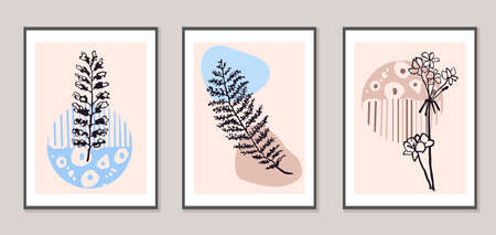 Vector set of collage modern poster with abstract shapes and illustration of plant. Scandinavian Style. For posters, textile print, wrapping paper, greeting card template, social media post