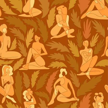 Vector seamless pattern with colorful illustration of silhouette women body and exotic leaves. For wallpaper, textile print, web page, wrapping paper, design of presentation and other graphic design