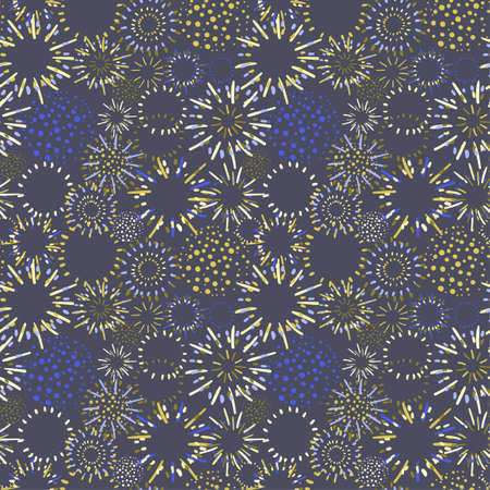 Vector seamless pattern with fireworks in variety of bright colors can be used for wallpaper, textile print, pattern fills, web, texture, wrapping paper, design presentation