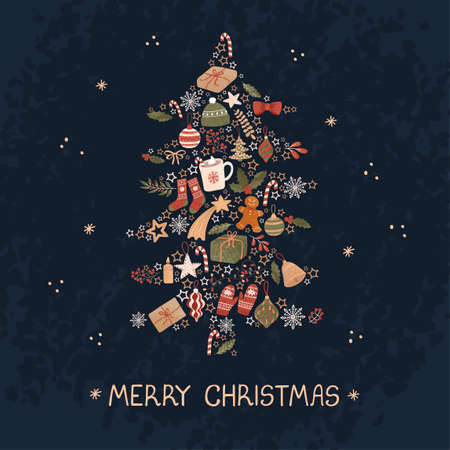 Vector christmas greeting card with illustration of Christmas tree. Use it as invitation, post card, poster, banner, Social Media design post, flyer, cover, placard, brochure and other graphic design