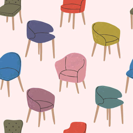 Vector colorful seamless pattern with hand drawn textured illustrations of modern comfortable armchairs. Elements for interior design