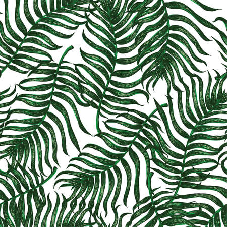 Vector seamless pattern with colorful illustration of tropical palm leaves. For wallpaper, textile print, pattern fills, web page, surface textures, wrapping paper, design of presentation