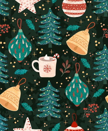 Vector seamless pattern with colorful illustrations of Christmas items. Use it for textile print, pattern fills, web page, wrapping paper, design of presentation and other graphic design