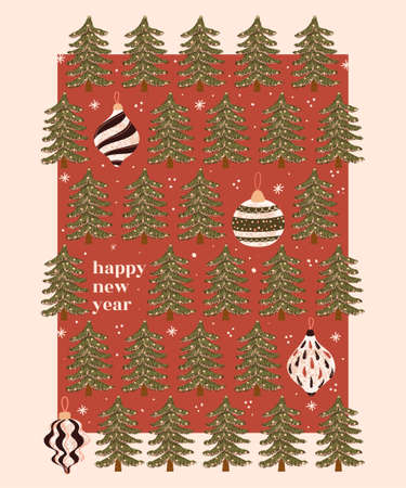Vector modern Greeting Card with colorful hand draw illustration of Christmas Tree Toys. Use it as invitation, post card, poster, banner, flyer, cover, placard, brochure and other graphic design