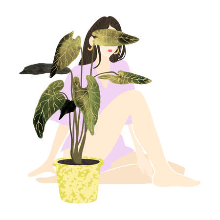 Colorful illustration of young summer woman sitting behind a potted house plant Ilustrace