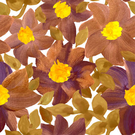 Vector seamless hand drawn floral background. Background with watercolor flowers. Seamless pattern. Can be used for wallpaper, pattern fills, web page background, surface textures, textile print.