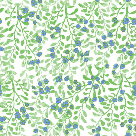 Vector seamless pattern with colorful illustration of cute small flowers on flowering bush. For wallpaper, textile print, pattern fills, web page, surface textures, wrapping paper, design of presentation Ilustrace