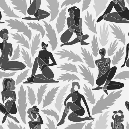 Vector seamless pattern with black and white illustration of silhouette women body and exotic leaves. Wallpaper, textile print, web page, wrapping paper, design presentation and other graphic design