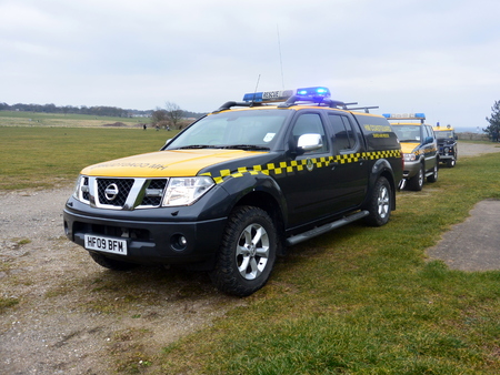 coastguard: BRIDLINGTON EAST YORKSHIRE ENGLAND 15 MARCH 2015 A Coastguard vehicle at the Coastguard teams final training exercise on March 15 2015 with the RAF Search and Rescue Helicopter in Bridlington.