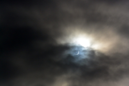 dimming: A view of the solar eclipse as seen in Bridlington UK in March 2015 Stock Photo