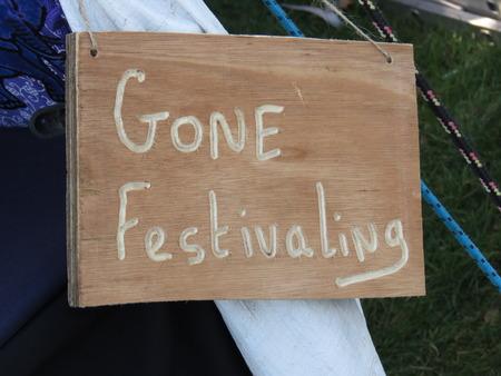 local festivals: Gone Festivaling Festival Signpost Stock Photo