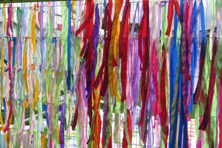 traditonal: Net of knotted ribbons at a music festival