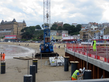 lifeboat station: Construction Work on Scarborough Beach SCARBOROUGH, NORTH YORKSHIRE, ENGLAND 25 JULY 2015 Construction work taking place on Scarborough beach for the new lifeboat station and ramp on 25th July 2015