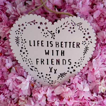 better: Life is better with friends heart shaped plaque on a pile of blossom