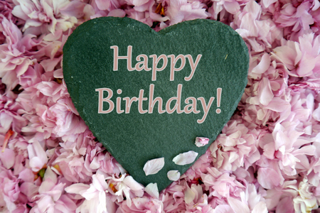 Heart and blossom birthday message Stock Photo