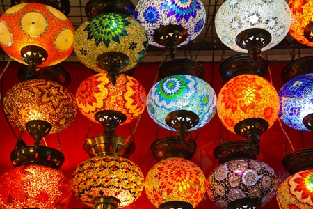 Colored lamps displayed for sale photo