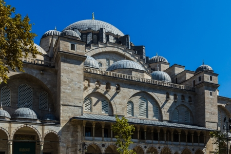 suleyman: Close-up view of the Suleymaniye Mosque, built between 1550 and 1558 for Suleyman the Magnificent.