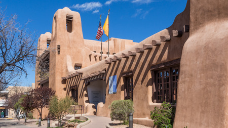 Exterior view of the New Mexico Museum of Art, downtown, Santa Fe, New Mexico