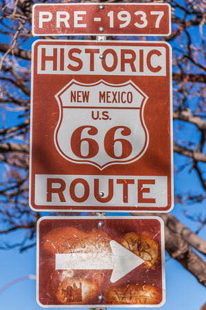 rt: Historic route 66 route marker sign in New Mexico