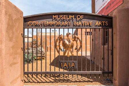 SANTA FE, NEW MEXICO, USA, April, 4, 2014: Gateway to the Museum of Contemporary Native Arts, Santa Fe, New Mexico
