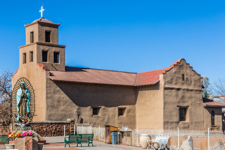 Church of the Virgin of Guadalupe, Santa FE, New Mexico Stock Photo