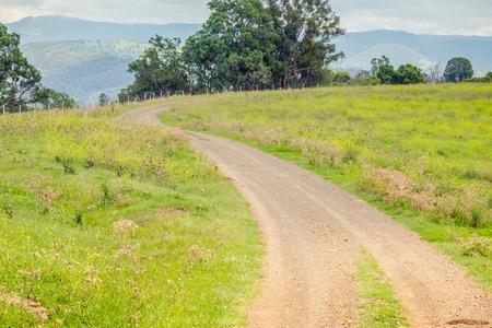어퍼 헌터 밸리, 뉴 사우스 웨일즈, 오스트레일리아의 목초지를 통한 비포장 도로 스톡 콘텐츠