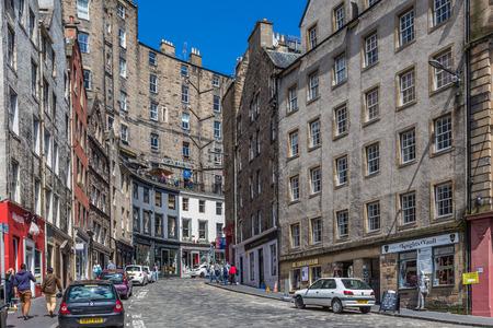 Edinburgh, Scotland, UK, June 26, 2016: Historic stone buildings in West Bow, in Edinburgh s Old Town