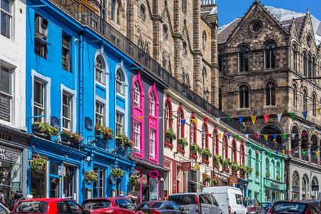 Edinburgh, Scotland, UK, June 26, 2016: Beautiful colorful stone buildings in West Bow in Edinburghs Old Town. Editöryel