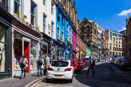 Edinburgh, Scotland, UK, June 26, 2016: Beautiful colorful stone buildings in West Bow. Editöryel