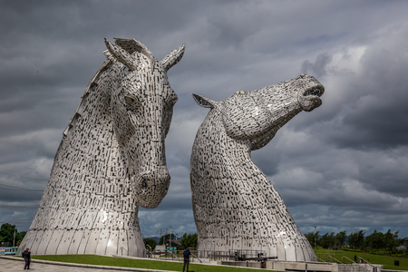 Falkirk, Scotland, UK, June 27, 2016: The worlds largest equine sculptures by the artist Andrew Scot. Editorial