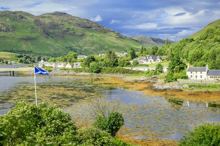 Dornie village, nestling by Loch Duich in the highlands of Scotland, UK