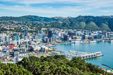 Wellington, New Zealand, March 16, 2017: Aerial View of the City of Wellington from Mount Victoria, North Island, NZ.