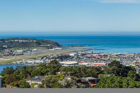 Wellington, New Zealand, March 16, 2017: View of Wellington Airport from Mount Victoria, Wellington. Editöryel