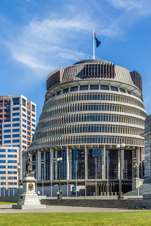 Wellington, New Zealand, March 16, 2017: The Executive Wing of the New Zealand Parliament Buildings, known as the Beehive.