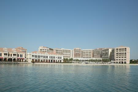 Abu Dhabi, United Arab Emirates, June 10, 2017: The Venetian Village in the grounds of the Ritz-Carlton. Editöryel