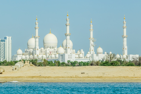 Abu Dhabi, United Arab Emirates, May 20, 2017: Sheikh Zayed Grand Mosque in Abu Dhabi, is one the world's largest mosques, with room for for 40,000 worshipers.
