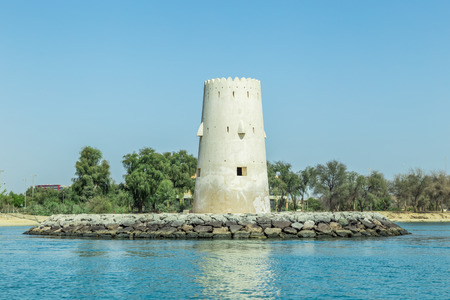 Abu Dhabi, United Arab Emirates, May 20, 2017: The White Fort (Qasr al-Hosn) is the oldest stone building in Abu Dhabi. Built as a watchtower to defend the only freshwater well on Abu Dhabi island circa 1761, it was expanded to a small fort about 1793.