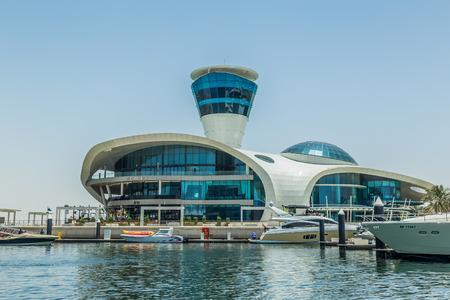 Abu Dhabi, United Arab Emirates, May 5, 2017: The unusual architecture of the Cipriani Restaurant on Yas Island, Abu Dhabi, UAE Editöryel