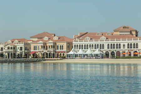 Abu Dhabi, United Arab Emirates, June 10, 2017: The Venetian Village, Abu Dhabi, is in the grounds of the Ritz-Carlton Hotel. It is an area of fine dining in Artisan restaurants.