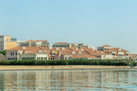 Abu Dhabi, United Arab Emirates, June 10, 2017: The Venetian Village, Abu Dhabi, is in the grounds of the Ritz Carlton. It is an area of fine dining in Artisan restaurants.