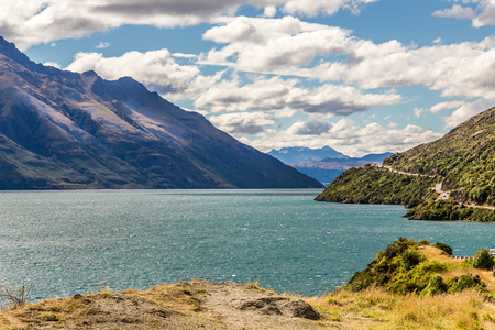 View across Lake Wakatipu, South Island, New Zealand. Stok Fotoğraf